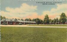 RUSTON, Louisiana  LA  LINCOLN HOTEL COURTS Roadside Linen 1940s Postcard