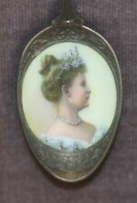 Antique 800 Silver & Enamel Portrait Spoon Queen Wilhelmina of the Netherlands