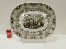 GIANT ANTIQUE 1830s NORMANDY Staffordshire Transferware Well & Tree Platter 22""