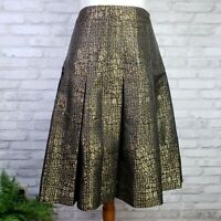 Carlisle size 6 A-line box pleated skirt copper gold brown black alligator print