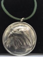 """Eagle On Disc TG69 Made In Solid Fine English Pewter On 18"""" Green Cord Necklace"""
