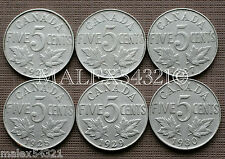 1922 TO 1930 GEORGE V 5 CENT SET (6 COINS) NICKEL CIRCULATED