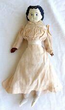 "Antique German Paper Mache 'Unbreakable' Head Doll w/Leather Hands, 17-1/2"""