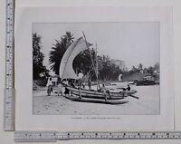 C1900 Antik Ceylon Aufdruck ~ Katamaran Bei MT Lavinia Küsten Voll Sail