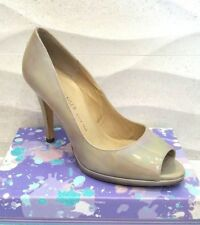 NEW PETER KAISER  *UK 6 * PATENT LEATHER CIMA PEEP TOE COURT HEEL -TAUPE PETROL
