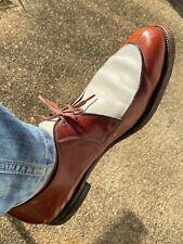 1940's Mens Two Tone Shoes Vintage Brown White 8.5 Lo Boy Rockabilly Lo-Boy
