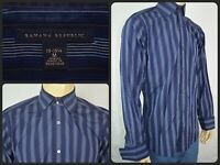 Banana Republic Blue Striped L/S Btn Front French Cuffs Dress Shirt Mens Med 15