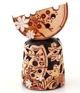 "Birch Bark Wooden Thimble Three Mice Mouse Cheese Handmade Rare Collectible 2"""