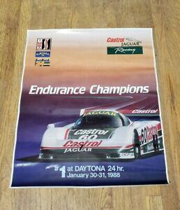 "Vintage 1988 Daytona Winner #60 Jaguar XJR9 Castrol Poster 27"" x 22 ½"" USA HTF"