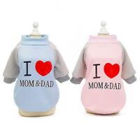 I Love Mom&Dad Dog Winter Warm Sweater Pet Coat Clothes Puppy Cat Jacket Apparel