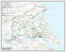 EAST YORKSHIRE COUNTY WALL MAP - LAMINATED EDITION - MAP SCALE 1:100,000