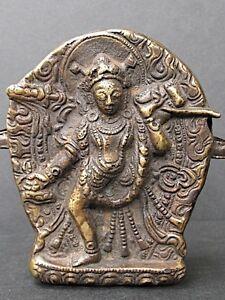 "Antique Box "" Ghau "" Copper Of Tibet, Dakini Bhutan Mantras"