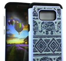 For Samsung Galaxy S8 - HYBRID ARMOR DIAMOND BLING CASE BLACK TRIBAL ELEPHANTS
