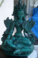 """Green Tara Statue from Nepal for Dharma 6"""" Height Turquoise Resin"""