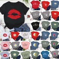 Summer Women Good Vibes Printed Short Sleeve Casual T Shirt Blouse Tops Tees UK