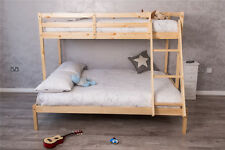 3 Sleeper White/Natural Pine Wooden Triple Bunk Bed Double&Single Size &Mattress