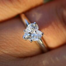 Engagement Ring In 925 Silver Valentine Special 1.00Ct Heart Shaped Stone