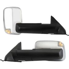 New Set of 2 Chrome Heated Towing Mirror w/Puddle Light for Dodge Ram Pair 09-12