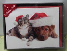 12 DOG & CAT CHRISTMAS CARDS BOX Holiday Santa Sparkle Cute Animal Lover AGC NEW