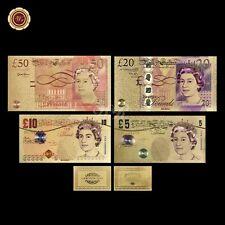 WR 4PCS Set British Color Gold Foil Bank Notes of UK £5-50 Pounds /w Certificate