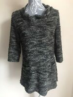 Joe Browns Womens Tunic Jumper Size 12 Grey 3/4 Sleeved With Wool