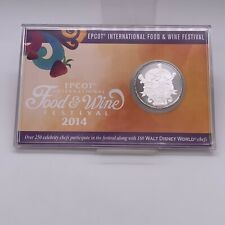 2014 Disney Epcot Food and Wine Festival LE Passholder Silver Plated Coin