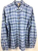 Duluth Trading Womens Shirt Size L Blue Plaid Long Sleeve Button Down Cotton EUC