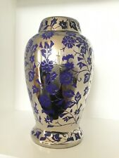 Silver & Purple Large Cremation Urn for Adult, Ashes, Funeral, Memorial, Urn 10""