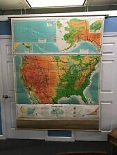 Rare Vintage United Stated Wall School Map Alaska Denoyer Geppert Retractable