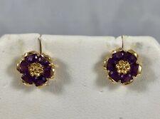 Vintage 14K Yellow Gold & Amethyst Dainty & Elegant Flower Pierced Earrings