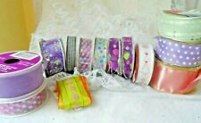 Decor & Craft Supplies - 12 Rolls Of Asort Full & Partial Ribbon - Wired & Other