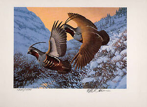 IDAHO #4 1990 STATE UPLAND GAME PRINT MOUNTAIN QUAIL No Stamp by Michael Sieve