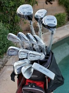 "Men's Cougar Golf Set 1"" Short Woods Irons 3-SW Putter Bag RH R Flex Cart Bag"