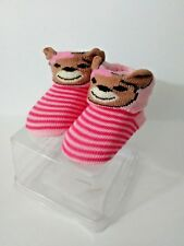 Girls Teddy Bear Baby Crib Sock Shoes Baby Booties Pink Striped Infant New