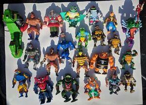 "VTG 80s 90s Playmates/Mattel 4"" TMNT & 5.5"" HE-MAN MOTU action figure lot of 22"