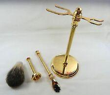 Gold Finish Deluxe Kits for Shaving Stand, Mach 3 Razor Handle, Nylon Brush