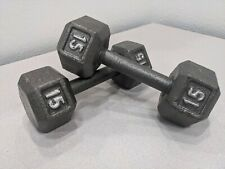 15 lb. Pound Cast Iron Hex Dumbbells Set Of 2 Total 30 Pounds Weights