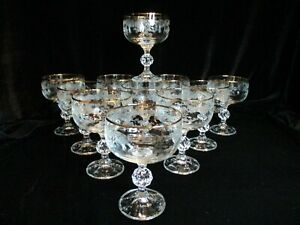 """BOHEMIA CRYSTAL CRYSTALEX QUEENS LACE ETCHED FLOWERS 11 CHAMPAGNE GOBLETS 5"""""""