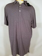 New Dunning Golf Striped Polo Shirt Blue & Pink Large L NWT