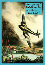 Airplane Plane Air Force Pilot Safety Low Flying War Flying Poster Print