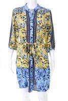 Saloni Womens Silk Long Sleeve Ruffle Hem Floral Shirt Dress Blue Yellow Size 8