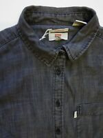 LEVI'S DENIM SHIRT WOMEN'S TAILORED FIT BUTTON DOWN SMALL MID GREY LSHT716