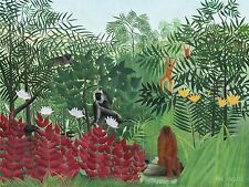 HENRI ROUSSEAU FRENCH TROPICAL FOREST MONKEYS OLD ART PAINTING POSTER BB5635A