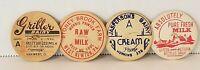 Lot Of 4 Vintage Milk Bottle Caps Paper Jaspersons Dairy Stoney Brook