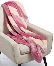MARTHA STEWART Faux Fur Ombré Stripe Pink Decorative Throw Blanket