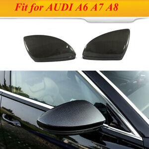 Fits AUDI A6 A7 A8 19-20 Side Mirror Cover Cap W/ Lane Assist Replace Carbon