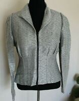 Lafayette 148 New York Blazer Jacket Size 8 Black/White Striped Zip