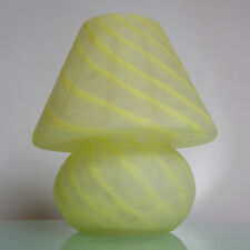 VINTAGE MID CENTURY MODERN VENINI YELLOW SWIRL GLASS MUSHROOM TABLE LAMP MURANO