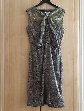 Maxmara mezcla de seda pura SETA vestido para De mujer, verde y negro con dibujos, tamaño UK16