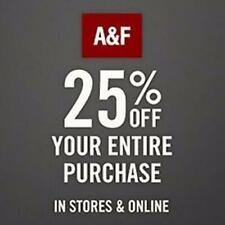 25% off $75+ Abercrombie & Fitch Promo-Coupon Code Ex 12/9/20 Online/In Store